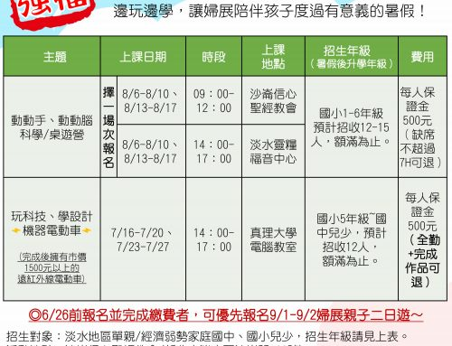 【淡水關懷站】暑期強檔~107年婦展暑期營隊來囉!